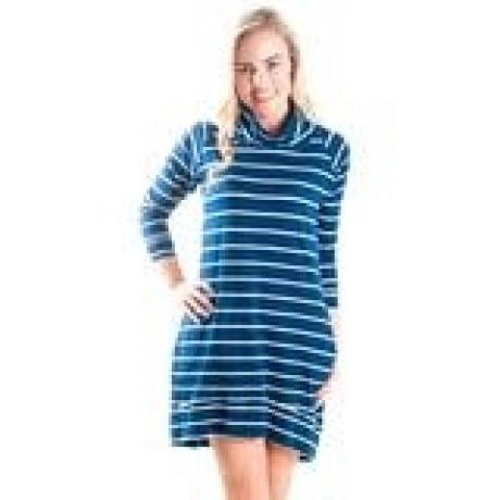 navy stripe cowl neck dress